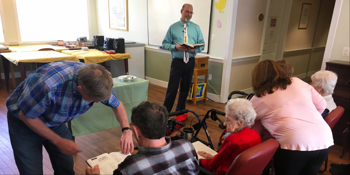 Sharing the Gospel with Seniors at HeartFields Assisted Living at Frederick